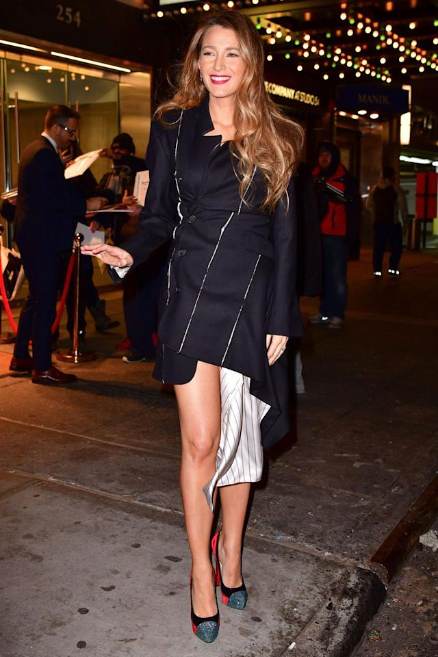<p><strong>10 January </strong>Blake Lively braved bare legs in an asymmetric coat-dress and heels in New York.</p>
