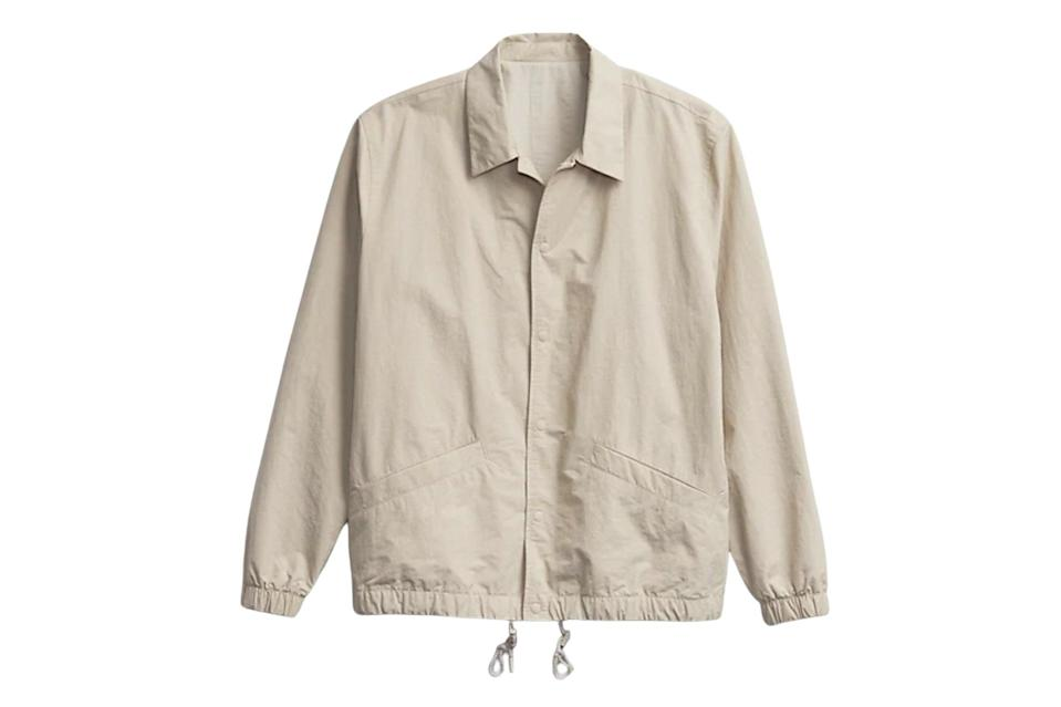 """Layers are still possible during spring, as long as you keep it light and airy. Time for this relaxed, slightly cropped coach's jacket to take up residence on that entryway hook set.<br> <br> <em>Gap nylon coach jacket</em> $98, Gap. <a href=""""https://www.gap.com/browse/product.do?pid=733695002#pdp-page-content"""" rel=""""nofollow noopener"""" target=""""_blank"""" data-ylk=""""slk:Get it now!"""" class=""""link rapid-noclick-resp"""">Get it now!</a>"""