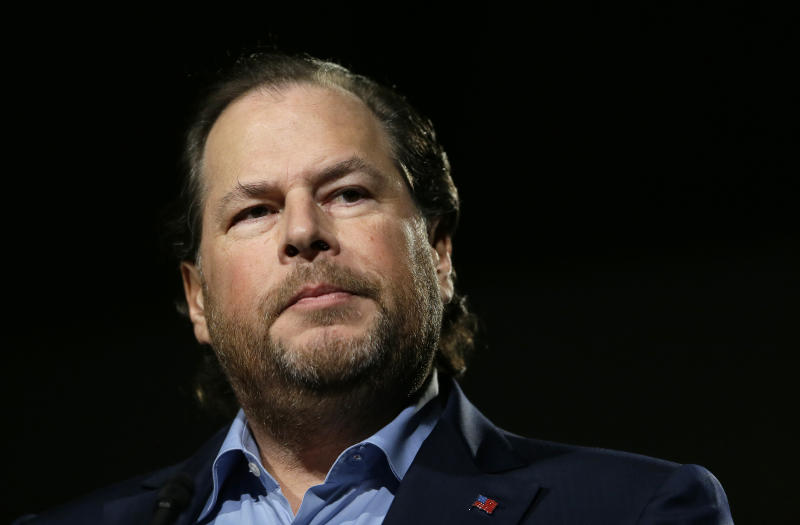 """FILE - In this photo taken Tuesday, Oct. 30, 2018, Salesforce CEO Marc Benioff speaks at a luncheon in San Francisco. In a forthcoming book, """"Trailblazer,"""" due out Oct. 15, 2019, Benioff calls on activist CEOs to lead a revolution that puts the welfare of people and the planet ahead of profits. (AP Photo/Eric Risberg, File)"""