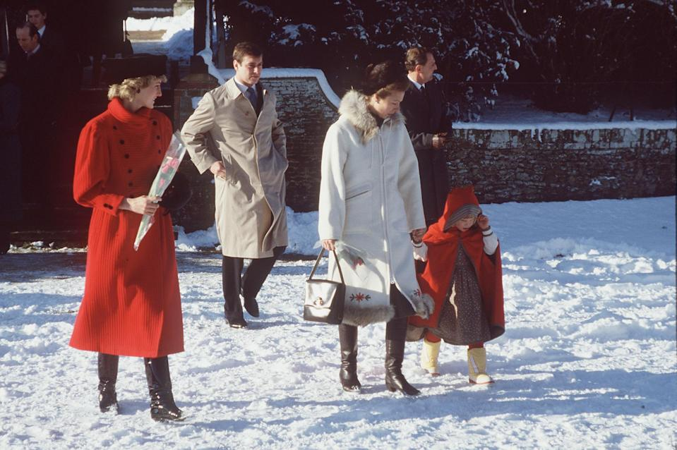 <p>It was red, white and snowy all over for Princess Diana, Princess Anne and her daughter Zara Phillips.</p>