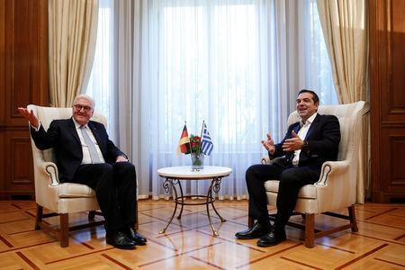 Greek Prime Minister Alexis Tsipras meets German President Frank-Walter Steinmeier at his office in Maximos Mansion in Athens, Greece, October 11, 2018. REUTERS/Costas Baltas