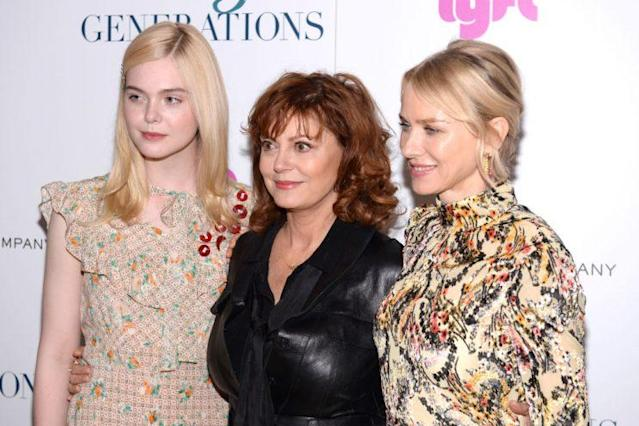 Elle Fanning,Susan Sarandon, and Naomi Watts. (Photo: Getty Images)