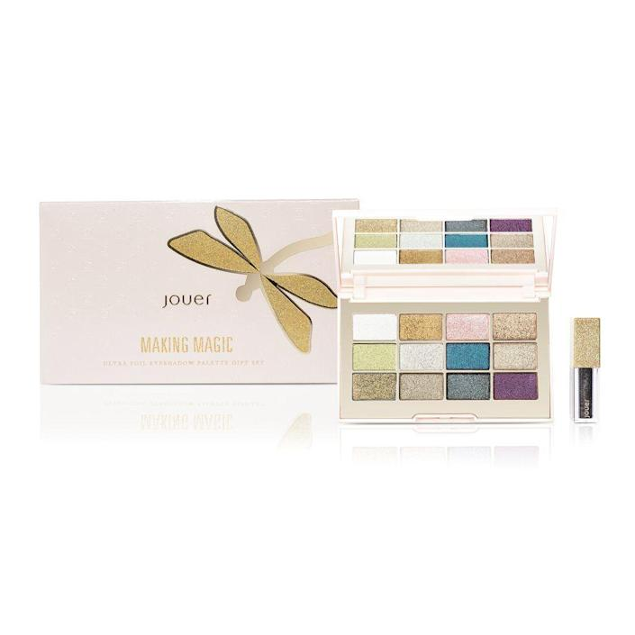 """<p>This limited-edition palette is chock full of eye-brightening shades, but what we really love is the included eye topper, which adds a wet finish to shadows.</p> <br> <br> <strong>Jouer</strong> Making Magic Ultra Foil Eyeshadow Palette Set, $36, available at <a href=""""https://www.sephora.com/product/ultra-foil-eyeshadow-palette-gift-set-P437712"""" rel=""""nofollow noopener"""" target=""""_blank"""" data-ylk=""""slk:Sephora"""" class=""""link rapid-noclick-resp"""">Sephora</a>"""