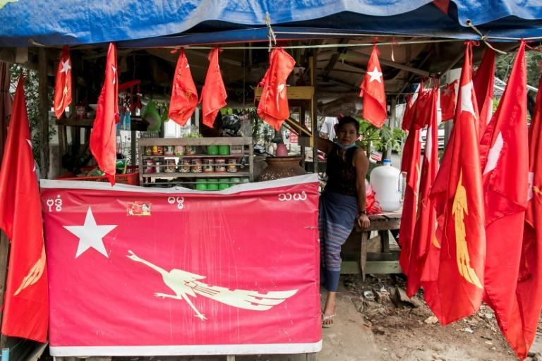 In some neighbourhoods in Yangon, the distinctive red flags of Aung San Suu Kyi's party were displayed prominently