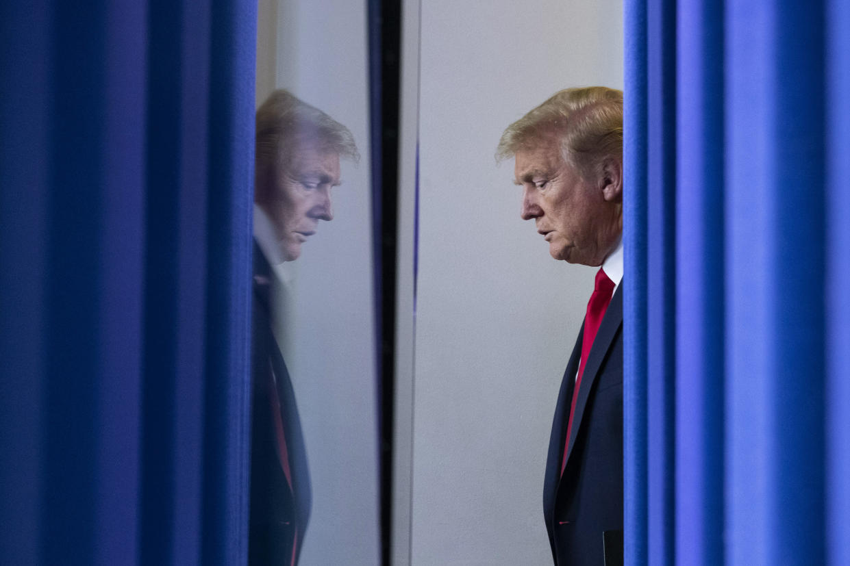President Trump arrives to speak to reporters in the briefing room of the White House, April 22, 2020. (AP Photo/Alex Brandon)
