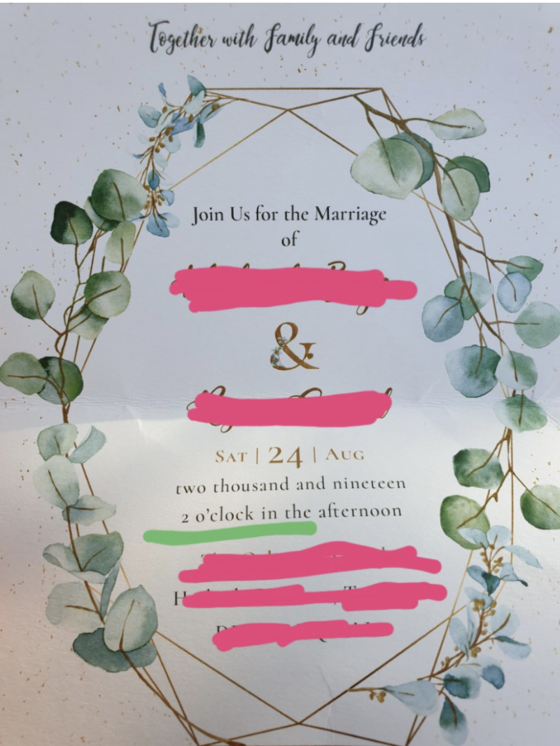 The offending invitation was posted to Reddit by the jilted guest. Photo: Reddit/weddingshaming
