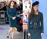 <p>The Duchess has also reworn her teal peplum L.K. Bennet suit on a few occasions, including March 2012 and December 2015. </p>