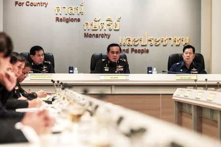 Thai Army chief General Prayuth Chan-ocha speaks during a meeting with Thai ambassadors at the Royal Thai Army Headquarters in Bangkok