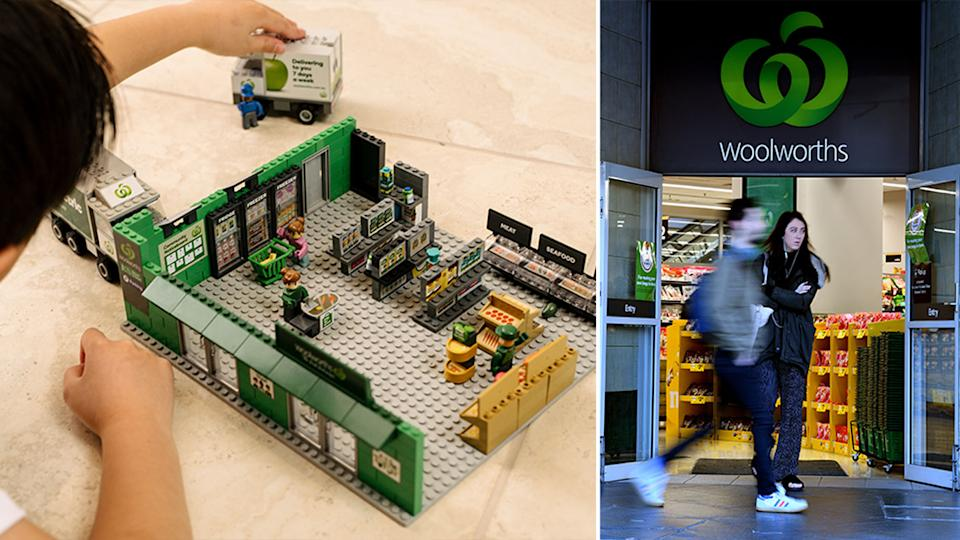 Pictured is the new Woolworths Bricks and a Woolworths supermarket.