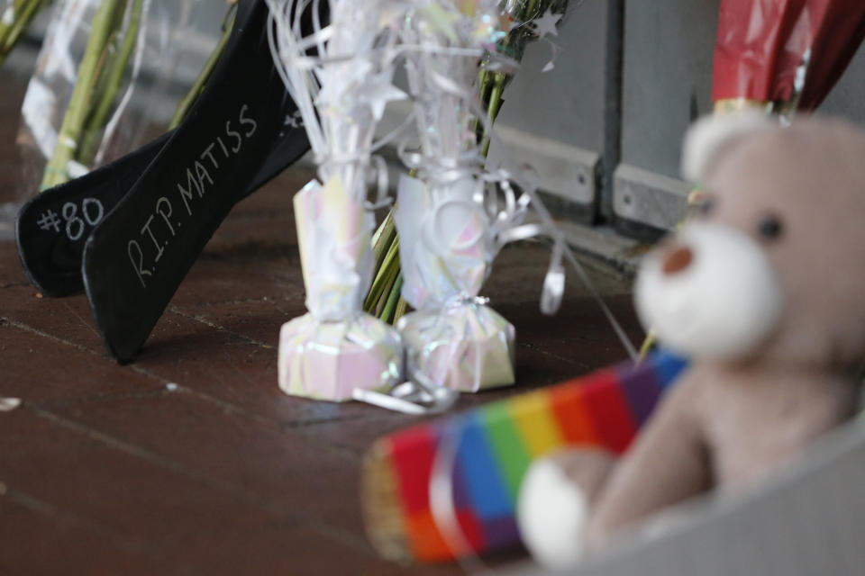 A makeshift memorial is displayed in front of Nationwide Arena Monday, July 5, 2021, in Columbus, Ohio, to remember Columbus Blue Jackets goaltender Matiss Kivlenieks who died of chest trauma from an errant fireworks mortar blast in what authorities described Monday as a tragic accident on the Fourth of July. (AP Photo/Jay LaPrete)