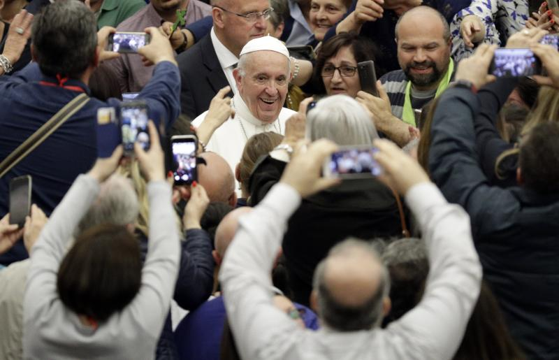 Pope Francis arrives for an audience with participants of a pilgrimage of the Italian-Albanian diocese of Lungro, in the Pope Paul VI hall, at the Vatican, Saturday, May 25, 2019. (AP Photo/Andrew Medichini)