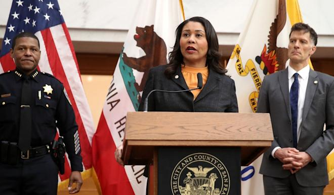 "San Francisco Mayor London Breed announcing on Monday that city residents would be required to stay home ""except for essential needs"". Photo: Getty Images via AFP"