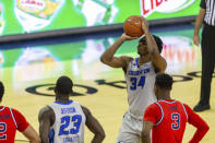 Creighton guard Denzel Mahoney (34) makes a free throw against St. John's in the second half during an NCAA college basketball game Saturday, Jan. 9, 2021, in Omaha, Neb. (AP Photo/John Peterson)