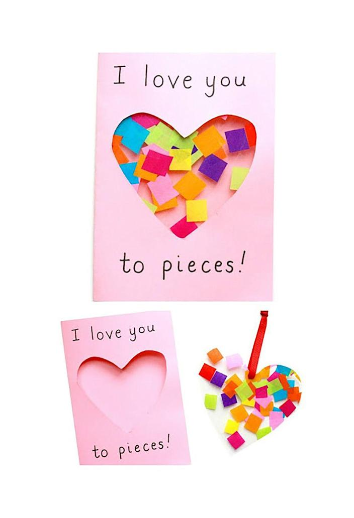 """<p>After getting some scissor help from an adult, your toddler can draw a special message for Mom on this cute DIY card. </p><p><strong>Get the tutorial at <a href=""""http://www.learningandexploringthroughplay.com/2017/01/love-you-to-pieces-suncatcher-card.html"""" rel=""""nofollow noopener"""" target=""""_blank"""" data-ylk=""""slk:Learning and Exploring Through Play"""" class=""""link rapid-noclick-resp"""">Learning and Exploring Through Play</a>. </strong> </p>"""