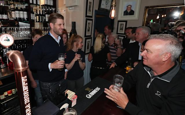 Eric Trump, the son of US President Donald Trump, in County Clare with a pint of Guinness. (Getty Images)