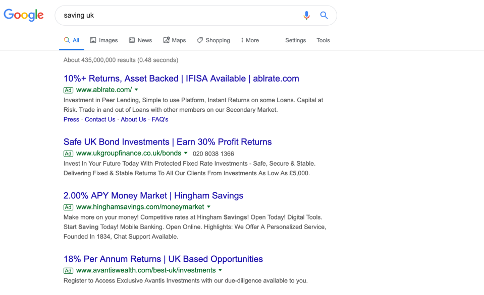 Adverts for bonds alongside savings results. Photo: Yahoo Finance UK/Screenshot