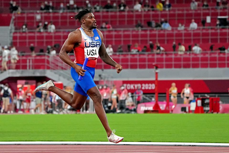 Jul 30, 2021; Tokyo, Japan; Elija Godwin (USA) competes in the 4x400 relay mixed round 1 heat 1 during the Tokyo 2020 Olympic Summer Games at Olympic Stadium. Mandatory Credit: Kirby Lee-USA TODAY Sports
