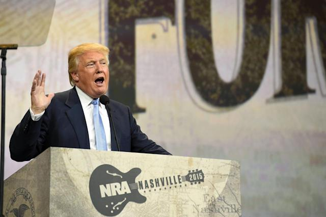 <p>Donald Trump speaks during the National Rifle Association's annual meeting in Nashville, on April 10, 2015.<i> (Photo: Harrison McClary/Reuters)</i> </p>