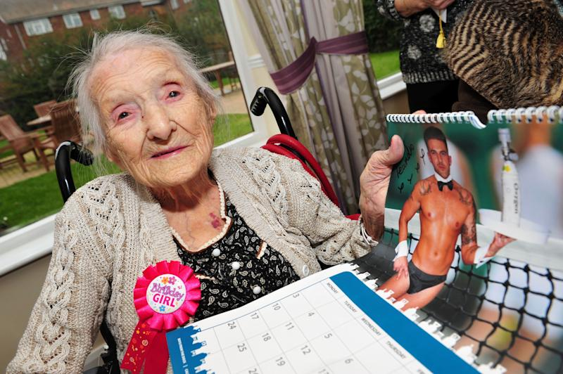 Sprightly Daisy Borrill, who celebrated the milestone at the weekend, is a great-great-great-grandmother who still has a soft spot for burly men in trunks.