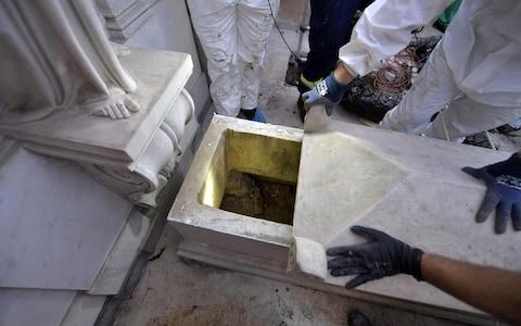 A handout picture provided by the Vatican shows the opening of two tombs at the Teutonic Cemetery in relation to the investigations into the case of Emanuela Orlandi, Vatican City, 11 July 2019 - Credit: VATICAN HANDOUT/EPA-EFE/REX
