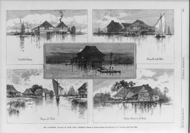 Composite of five wood engravings of drawings by Charles Graham after sketches by J.O. Davidson, from the 1883 Harper's Weekly article by Lafcadio Hearn. (Photo: Library of Congress)