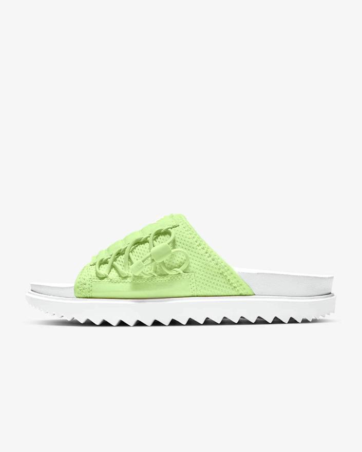"<h3>Nike Asuna Slide</h3> <br>The sneaker <em>auteurs</em> at Nike hit the mark with this functional yet very of-the-moment slide. With a host of bells and whistles that keep the shoe comfy — a foam insole, grippy traction, and adjustable uppers — it also boasts that just-so ""ugly"" quality that fashion enthusiasts so cherish in a shoe.<br><br><em>Shop </em><strong><em><a href=""https://www.nike.com/w/womens-sandals-slides-5e1x6zfl76"" rel=""nofollow noopener"" target=""_blank"" data-ylk=""slk:Nike"" class=""link rapid-noclick-resp"">Nike</a></em></strong><br><br><strong>Nike</strong> Asuna Slide, $, available at <a href=""https://go.skimresources.com/?id=30283X879131&url=https%3A%2F%2Fwww.nike.com%2Ft%2Fasuna-womens-slide-BKVfTf%2FCW9707-102"" rel=""nofollow noopener"" target=""_blank"" data-ylk=""slk:Nike"" class=""link rapid-noclick-resp"">Nike</a><br><br><br>"
