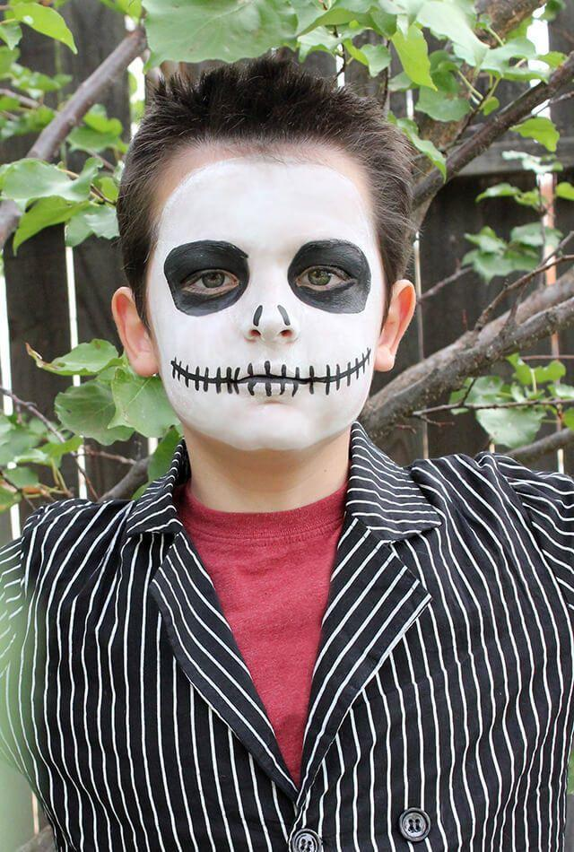 "<p>Your tween-ager will look like he just stepped off the set of <em>The Nightmare Before Christmas</em> with this Jack Skellington face paint, which comes together surprisingly fast.</p><p><em><a href=""https://www.happinessishomemade.net/quick-jack-skellington-halloween-makeup/"" rel=""nofollow noopener"" target=""_blank"" data-ylk=""slk:See more at Happiness Is Homemade »"" class=""link rapid-noclick-resp"">See more at Happiness Is Homemade »</a></em><br></p>"