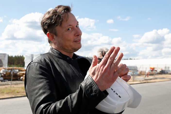 SpaceX founder and Tesla CEO Elon Musk visits the construction site of Tesla's gigafactory in Gruenheide, near Berlin, Germany, May 17, 2021. REUTERS/Michele Tantussi