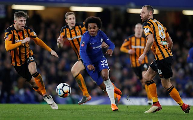 Soccer Football - FA Cup Fifth Round - Chelsea vs Hull City - Stamford Bridge, London, Britain - February 16, 2018 Chelsea's Willian in action with Hull City's David Meyler Action Images via Reuters/Paul Childs