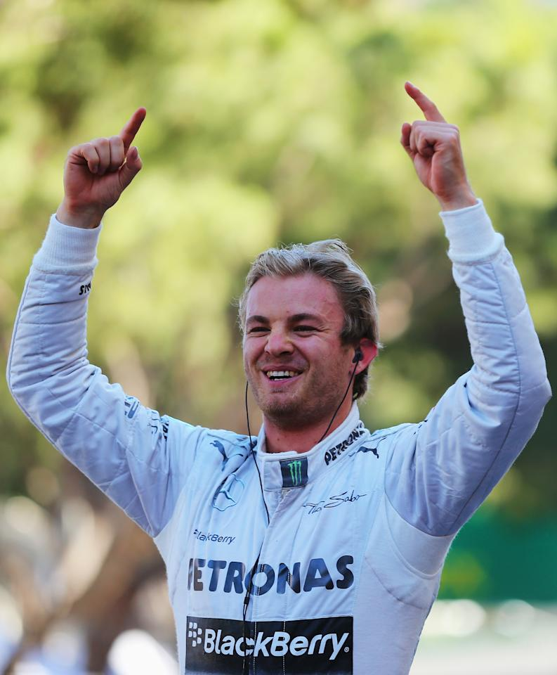 MONTE-CARLO, MONACO - MAY 26:  Nico Rosberg of Germany and Mercedes GP celebrates after winning the Monaco Formula One Grand Prix at the Circuit de Monaco on May 26, 2013 in Monte-Carlo, Monaco.  (Photo by Bryn Lennon/Getty Images)