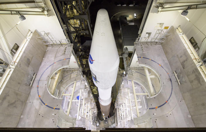 This photo provided by NASA shows the United Launch Alliance Atlas V rocket with the Landsat 9 satellite onboard at Vandenberg Space Force Base, Calif., on Monday, Sept. 27, 2021. A project of NASA and the U.S. Geological Survey, Landsat 9 will work in tandem with a predecessor, Landsat 8, to extend a nearly 50-year data record of land and coastal regions that began with the launch of the first Landsat in 1972. (Bill Ingalls/NASA via AP)