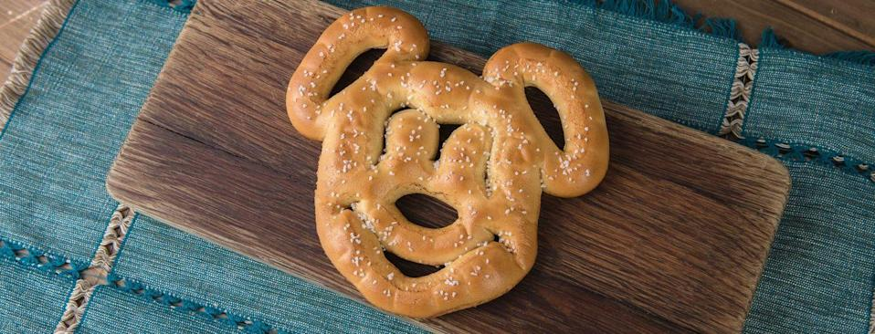<p>That's right — the infamous Mickey Pretzel, available throughout any of the parks, is baked without eggs or dairy. Just remember to order this snack without the cheese sauce. </p>