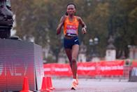 <p>Ruth Chepngetich, who finished third, said the rainy conditions were challenging for her.</p>