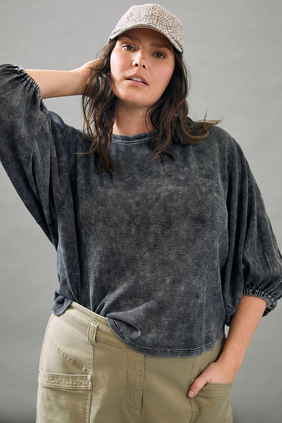 """<h3><h2>Pilcro Washed Waffle Top</h2></h3><br><strong>Available Sizes: XS-3X (Petite Options)</strong><br>A double-duty Pilcro waffle top is comfy enough for lazying around and stepping out on the town. The puffed sleeve adds a level of versatility to the functionality of the garment. Pair with some comfy sweats or your favorite high-waisted denim. <br><br><em>Shop <strong><a href=""""https://www.anthropologie.com/shop/pilcro-washed-waffle-top?color=001&type=PLUS&quantity=1"""" rel=""""nofollow noopener"""" target=""""_blank"""" data-ylk=""""slk:Anthropologie"""" class=""""link rapid-noclick-resp"""">Anthropologie</a></strong></em><br><br><strong>Pilcro and the Letterpress</strong> Pilcro Washed Waffle Top, $, available at <a href=""""https://go.skimresources.com/?id=30283X879131&url=https%3A%2F%2Fwww.anthropologie.com%2Fshop%2Fpilcro-washed-waffle-top%3Fcolor%3D001%26type%3DPLUS%26quantity%3D1"""" rel=""""nofollow noopener"""" target=""""_blank"""" data-ylk=""""slk:Anthropologie"""" class=""""link rapid-noclick-resp"""">Anthropologie</a>"""