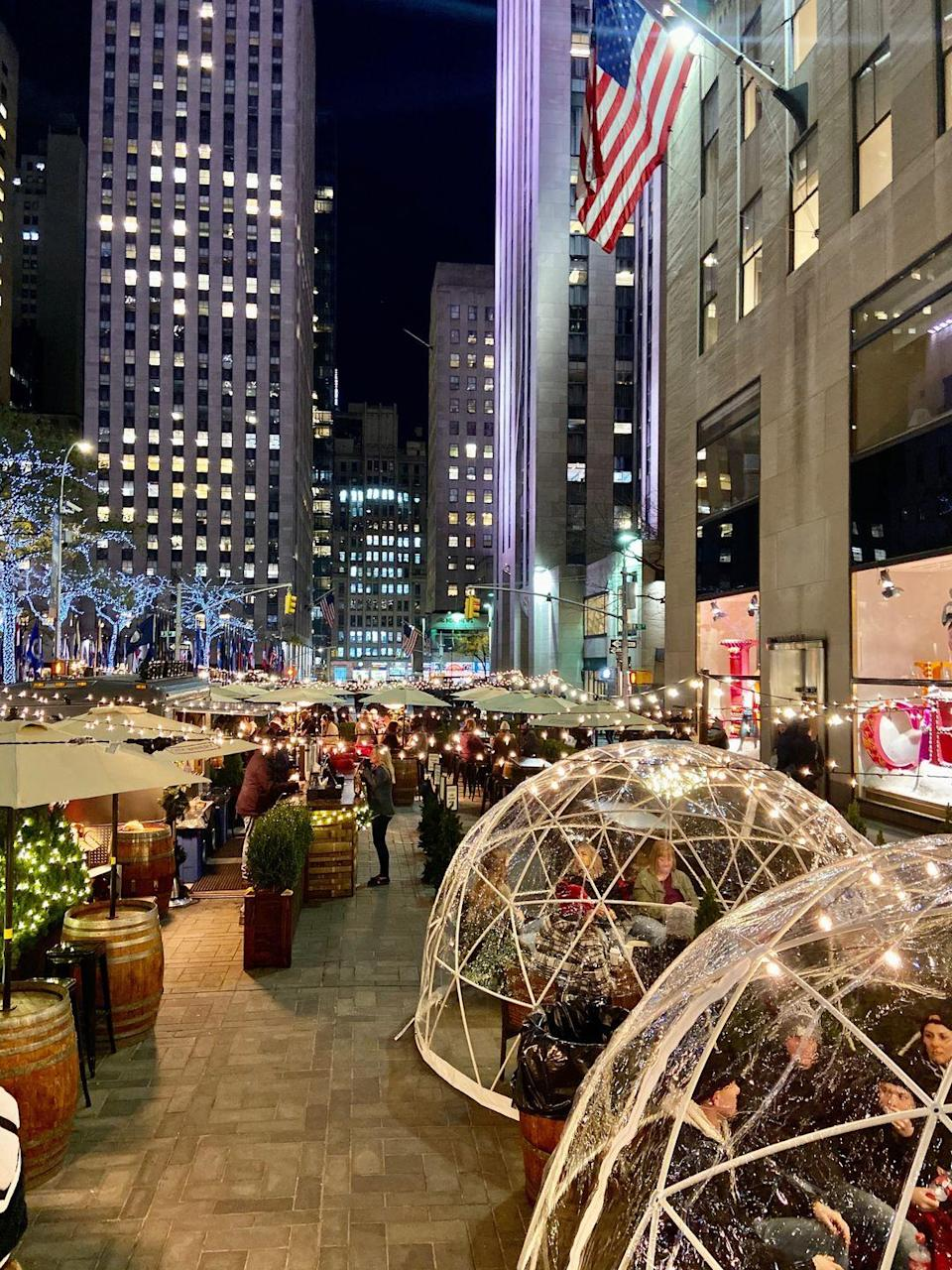 """<p>Take a break from your holiday shopping and slip into one of the heat, full-service igloos at City Winery's pop-up at Rockefeller Center. In addition to the locally-crafted wines on tap, mulled wine, and hot cider, the igloos, which will be in place until New Years, also offer a view of the iconic Rockefeller Center skating rink for a magical seasonal outing. </p><p><em>Rockefeller Plaza. Reservations for up to 8 people can be made in advance through <a href=""""mailto:rockcenter@citywinery.com"""" data-ylk=""""slk:rockcenter@citywinery.com"""" class=""""link rapid-noclick-resp"""">rockcenter@citywinery.com</a>. </em></p>"""