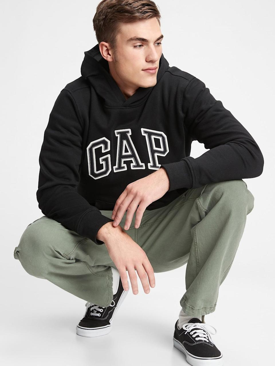 <p>We love the sleek black of this <span>Gap Arch Logo Hoodie</span> ($47, originally $60). Mix up the look by pairing it with a pair of vinyl pants!</p>