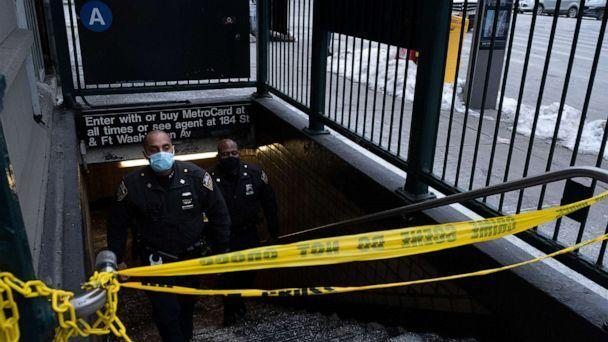 PHOTO: Officers on scene at the 181st Street station in Washington Heights in New York, Feb. 13, 2021, where one of four separate stabbings on the A line took place over the weekend.  (Dakota Santiago/The New York Times via Redux)