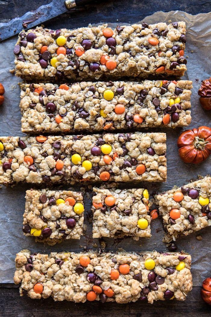 """<p>Colorful, chewy and chocolate-y, these giant cookie bars look good and will go fast on your dessert buffet. </p><p><a class=""""link rapid-noclick-resp"""" href=""""https://www.halfbakedharvest.com/monster-oatmeal-chocolate-chip-cookie-bars/"""" rel=""""nofollow noopener"""" target=""""_blank"""" data-ylk=""""slk:GET THE RECIPE"""">GET THE RECIPE</a></p>"""
