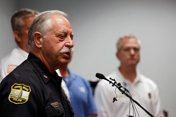 Virginia Beach Chief of Police James Cervera speaks during a press conference about a shooting that left eleven dead and six injured at the Virginia Beach Municipal Center on May 31, 2019 in Virginia Beach, Va. (Photo: Kaitlin McKeown/The Virginian-Pilot via AP)