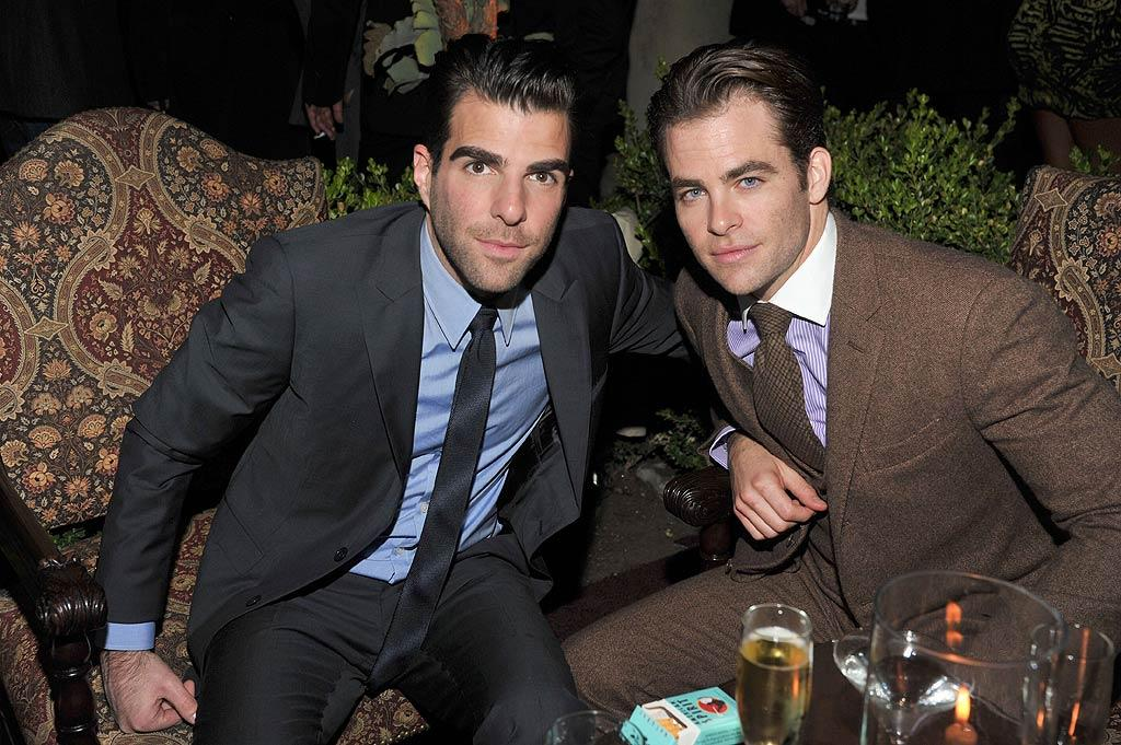 """Star Trek"" co-stars Zachary Quinto and Chris Pine kept things serious. (11/17/2011)"