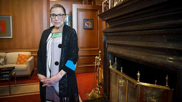 PHOTO: In this July 31, 2014, file photo, Associate Justice Ruth Bader Ginsburg is seen in her chambers in at the Supreme Court in Washington. The Supreme Court says Ginsburg has died of metastatic pancreatic cancer at age 87. (Cliff Owen/AP)