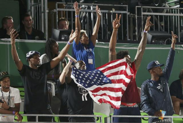 2016 Rio Olympics - Beach Volleyball - Women's Quarterfinal - Beach Volleyball Arena - Rio de Janeiro, Brazil - 14/08/2016. Members of the U.S. basketball team Kevin Durant (L-R), Draymond Green, DeAndre Jordan and Jimmy Butler show their support from the stands. FOR EDITORIAL USE ONLY. NOT FOR SALE FOR MARKETING OR ADVERTISING CAMPAIGNS REUTERS/Adrees Latif (BRAZIL - Tags: SPORT OLYMPICS SPORT VOLLEYBALL SPORT BASEBALL) FOR EDITORIAL USE ONLY. NOT FOR SALE FOR MARKETING OR ADVERTISING CAMPAIGNS.