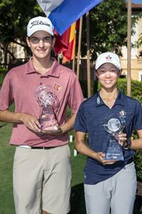 Emily Zhu of Canada and Sebastian Moss of Texas win the 57th annual Junior Orange Bowl International Championship at the Biltmore Hotel Miami