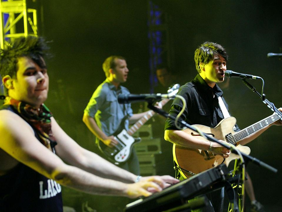 Rostam Batmanglij, Chris Baio and Ezra Koenig of Vampire Weekend perform at Coachella in 2010Getty Images