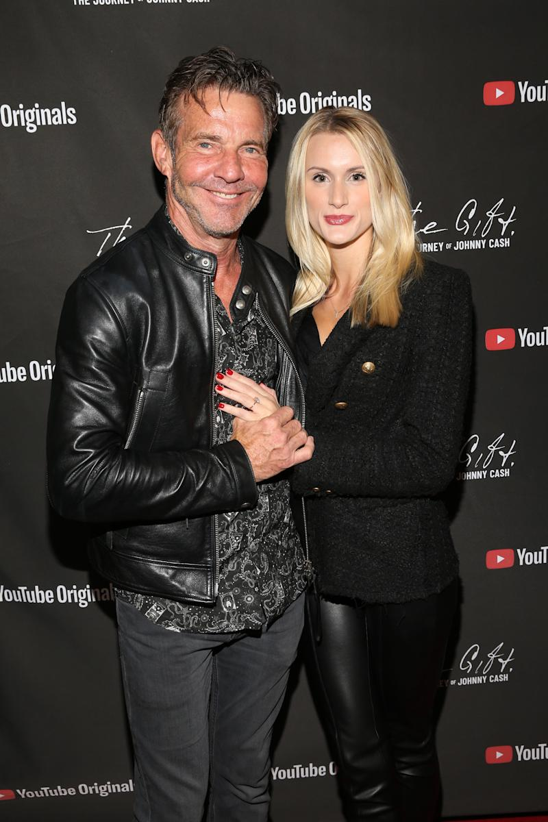 Dennis Quaid and 26-year-old fiancé, Lauren Savoie. Image via Getty Images.