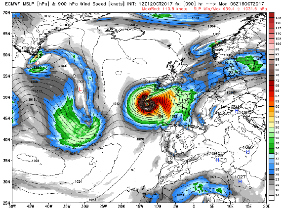 Computer model projection from the European model showing Hurricane Ophelia approaching Ireland on Oct. 16, 2017, as an extratropical storm.