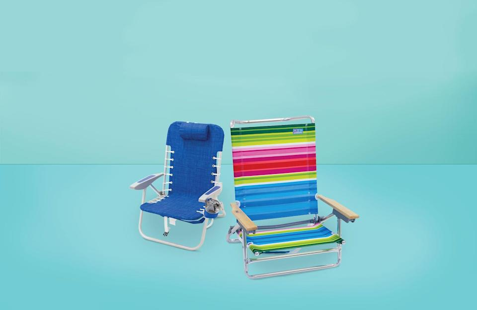 """<p>You don't realize how much of a difference a great beach chair makes until you have one. There are a ton of beach chairs you can snag at a department store, but paying attention to certain features can really help. For the best beach experience, the <a href=""""https://www.goodhousekeeping.com/institute/about-the-institute/a19748212/good-housekeeping-institute-product-reviews/"""" rel=""""nofollow noopener"""" target=""""_blank"""" data-ylk=""""slk:Good Housekeeping Institute"""" class=""""link rapid-noclick-resp"""">Good Housekeeping Institute</a> is here to help. </p><p>Our team of product experts and textiles analysts rounded up our favorite beach chairs with a range of features for every beach-goer and camper, like multiple position recline for tanning and back pain relief, back straps for portability, and adjustable canopies for extra sun protection. When it comes to shopping, our pros recommend considering the chair's height: Some people prefer being low to the sand, but if you're older or have <a href=""""https://www.goodhousekeeping.com/health/wellness/a32894338/why-your-joints-ache-in-the-morning/"""" rel=""""nofollow noopener"""" target=""""_blank"""" data-ylk=""""slk:bad knees"""" class=""""link rapid-noclick-resp"""">bad knees</a>, high beach chairs are easier to get out of. You'll also want to consider weight capacity. Most beach chairs will support up to 250 pounds on average, but there are camping and beach chairs that claim to support up to 500 pounds for larger-bodied people. </p><p>See below for the<strong> best beach chairs of 2021 at every price point,</strong> selected for their exciting features and high star ratings from brands staffers love. Grab your <a href=""""https://www.goodhousekeeping.com/clothing/g32142284/best-beach-bags/"""" rel=""""nofollow noopener"""" target=""""_blank"""" data-ylk=""""slk:beach bag"""" class=""""link rapid-noclick-resp"""">beach bag</a>, <a href=""""https://www.goodhousekeeping.com/beauty/anti-aging/g1288/best-sunscreens/"""" rel=""""nofollow noopener"""" target=""""_blank"""" data-ylk=""""slk:sunscreen"""" class=""""link r"""