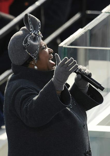 Aretha Franklin performs during the inauguration ceremony for US President Barack Obama in 2009