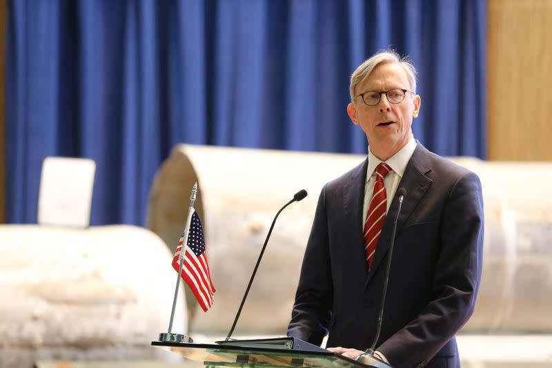 U.S. Special Representative for Iran Brian Hook speaks during a joint news conference with Saudi Arabia's Minister of State for Foreign Affairs Adel al-Jubeir, in Riyadh