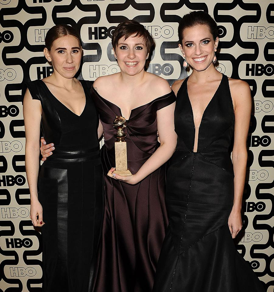 Zosia Mamet, Lena Dunham and Allison Williams attend the HBO after party at the 70th annual Golden Globe Awards at Circa 55 restaurant at the Beverly Hilton Hotel on January 13, 2013 in Los Angeles, California.